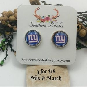 3 for $18- New York Giants Logo Stud Earrings